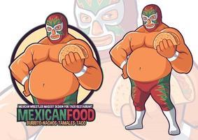Mexican Wrestler Mascot for Taco Restaurant vector