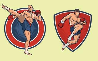 Muay Thai Fighter Set. the gloves and backgrounds can be replaced vector