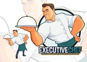 chef ejecutivo sirviendo comida ilustración vector