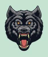 vector de cabeza de lobo enojado para elementos de diseño