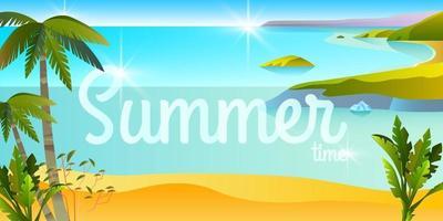 Horizontal tropical summer banner, beach landscape, travel background, ocean, island, palm trees vector