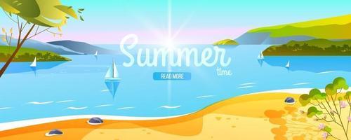 Summer tropical banner, travel beach landscape, coastline, ocean, boat, islands, trees vector