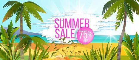 Summer sale banner, vector discount offer background, palm, tropical island beach, exotic plants