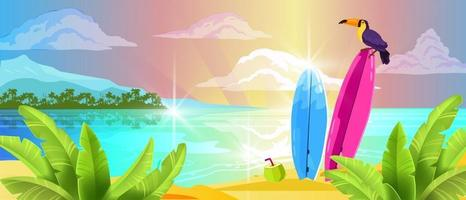 Summer vacation banner, tropical island background, ocean sand, toucan, surfboard, clouds vector