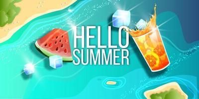 Summer sale banner, season offer background, tropical island top view, watermelon, ice lemonade vector