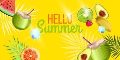 Hello Summer banner, beach party background with green coconut, orange, kiwi, avocado, watermelon vector