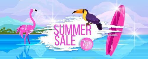 Summer sale banner, hot discount. Ocean, tropical island beach, toucan, pink flamingo, surfboard vector