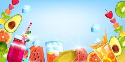 Summer banner, exotic vacation flyer, tropical fruit, cold ice beverage, watermelon, blue background vector