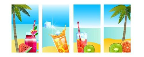 Summer vacation banner, tropical island beach background set, ocean, cold beverages, palm, fruit vector