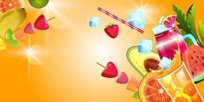 Summer background, tropical beach party banner with fruit, cocktail, lemonade, ice, strawberry vector