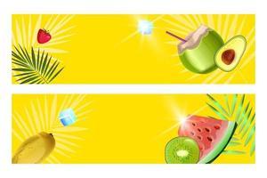 Summer banner set, beach party yellow backgrounds, green coconut, watermelon slice, kiwi, mango vector