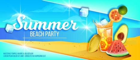 Summer beach party banner, tropical island sand, exotic fruit, cold ice beverage glass, watermelon vector