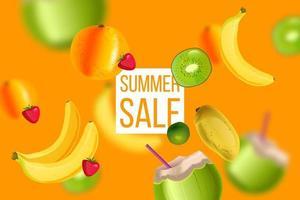 Summer sale orange banner, hot discount background, banana, kiwi, coconut with straw, mango vector