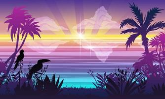 Horizontal ocean landscape, summer vacation banner, tropical plants, trees, toucan, parrot outline vector