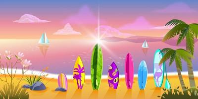 Hello summer evening banner with ocean, tropical beach, surfboards, palm trees, exotic plants vector