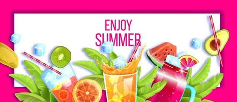 Summer cocktail party banner, tropical exotic background, lemonade glass, cold beverages, fruit, ice vector
