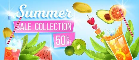 Summer sale collection banner, hot discount offer, tropical fruit, watermelon, cold beverages vector