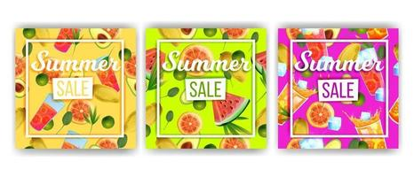 Summer sale banner collection, hot discount set, tropical fruit, cold beverages, watermelon vector