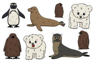 Vector Penguin, king penguin chick, fur seal, polar bear cub, small Common seal. Set of isolated small cartoon outline cute sea and ocean animals for kids book, stickers or prints for clothes