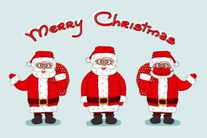 Vector Santa Claus set and Merry Christmas lettering text. Cartoon Happy Santa with bag, mask, costume