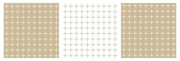 Set of three beige and white geometric patterns. Abstract squares and empty dots, intersection of two broken lines. All shapes are distorted vector