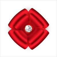 Bright satin bow of red color with ribbons in the shape of a flower with a brilliant stone in the center Festive decoration Isolated on a white background Vector illustration