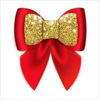 Red festive bow with golden decor Isolated on a white background Vector illustration