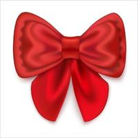 Red satin bow with ribbons Festive decoration Isolated on a white background Vector illustration