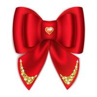 Red bow with rhinestones Holiday decoration Isolated on a white background Vector illustration