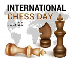 Banner International Chess Day Black king of pieces and white king defeated The figure of a black horse 3D realistic style vector