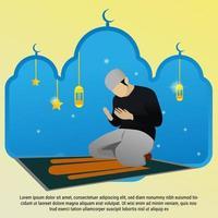 Flat man prayer in mosque illustartion vector