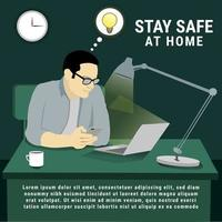 Work at home flat illustrations on office room vector