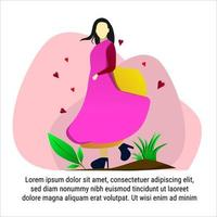 Woman Dancing flat illustration colorful vector