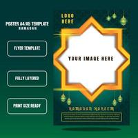 Ramadan kareem flyer template with green background realistis vector