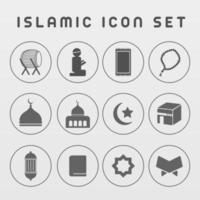 Islamic ramadan icon pack with gray color monochrome vector