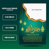 Ramadan flyer template with blue and gold color vector