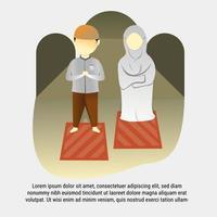 Family Praying flat illustration at home vector