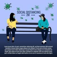 Flat social distance illustration with woman illustration vector