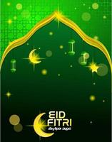 Eid fitri flyer template with green background color vector