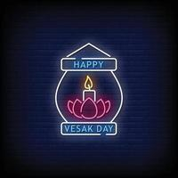Happy Vesak Day Neon Signs Style Text Vector