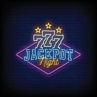 Jackpot Night Neon Signs Style Text Vector