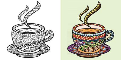 Tea Cup art Colouring Book Page for adults and children. Abstract vector illustration anti-stress therapy.