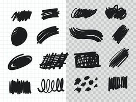 Hand drawn Highlighter Brush Collection set vector