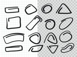 Hand drawn Highlighter Mark Collection set vector
