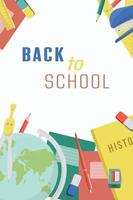 Back to school Color vector illustrations for a poster banner or card with objects stationery books pen ruler globe eraser Concept for 1 September
