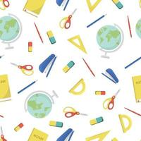 school supplies and office stationary on white background Back to school education and business concept Vector seamless pattern for banner poster office supply store and wallpaper