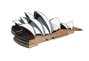 Sydney Opera House from a splash of watercolor, colored drawing, realistic. Vector illustration of paints