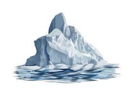 iceberg de un toque de acuarela, dibujo coloreado, realista. ilustración vectorial de pinturas vector
