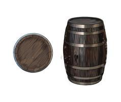 Barril de madera para vino u otras bebidas de un toque de acuarela, dibujo coloreado, realista. ilustración vectorial de pinturas vector