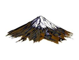 Mountain from a splash of watercolor, colored drawing, realistic. Vector illustration of paints
